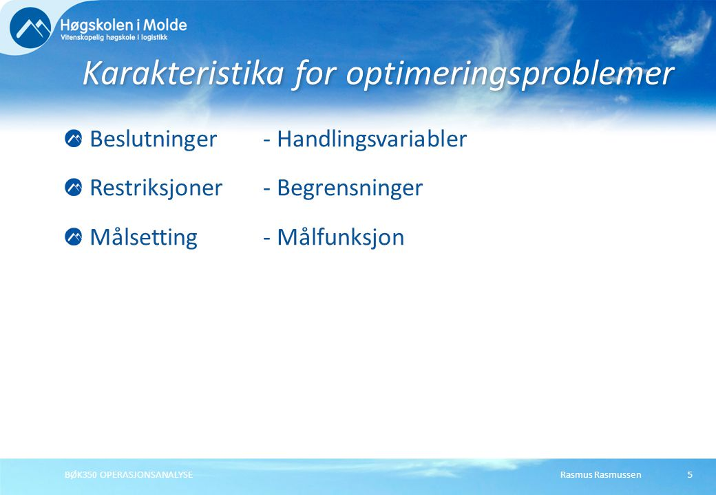 Karakteristika for optimeringsproblemer