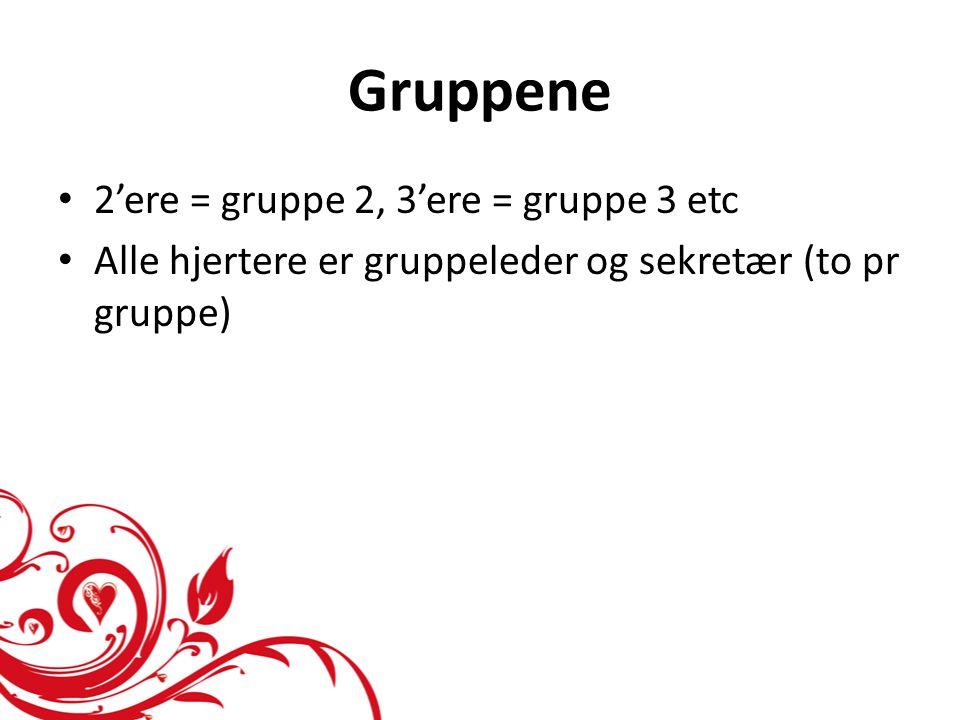 Gruppene 2'ere = gruppe 2, 3'ere = gruppe 3 etc