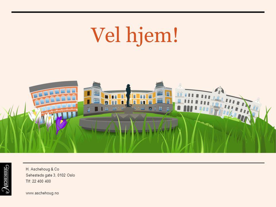 Vel hjem! H. Aschehoug & Co Sehesteds gate 3, 0102 Oslo