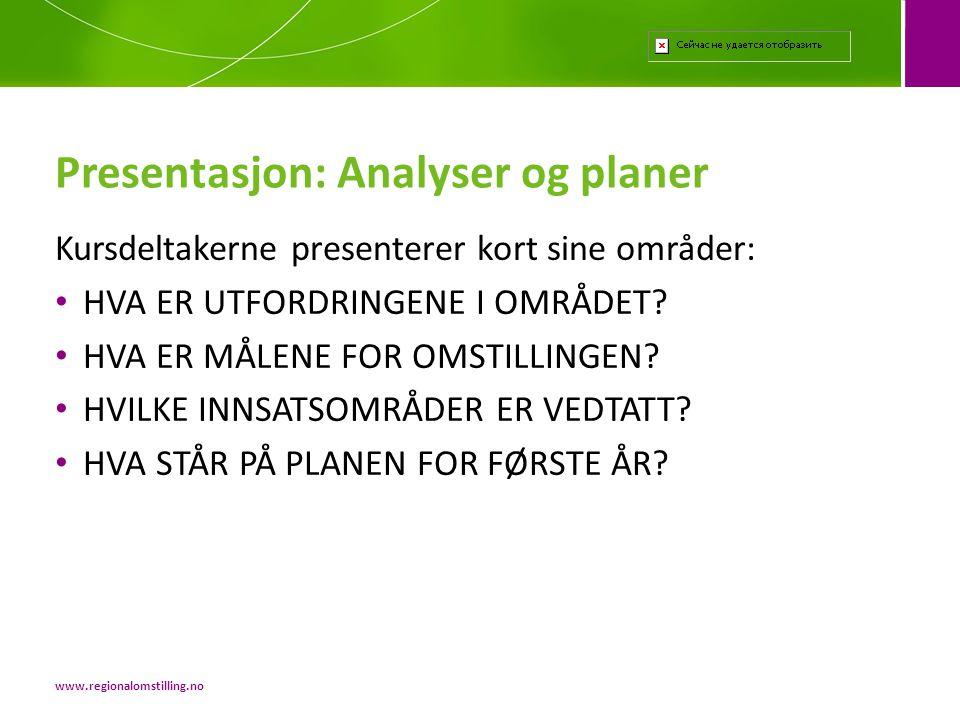 Presentasjon: Analyser og planer