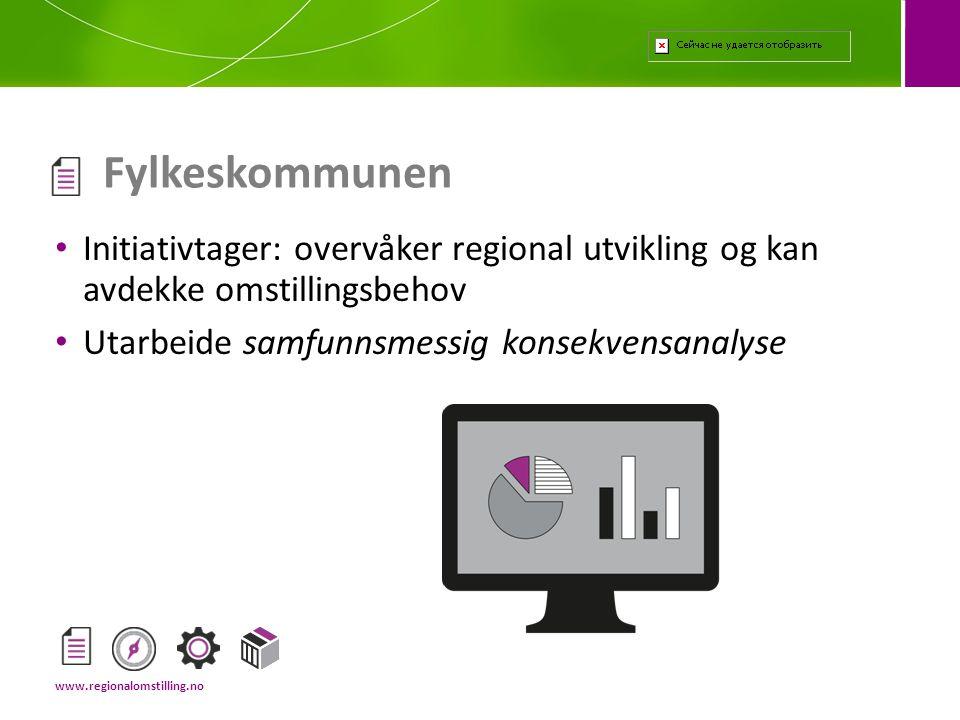 Fylkeskommunen Initiativtager: overvåker regional utvikling og kan avdekke omstillingsbehov. Utarbeide samfunnsmessig konsekvensanalyse.