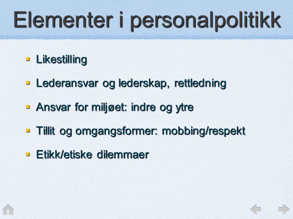 Elementer i personalpolitikk