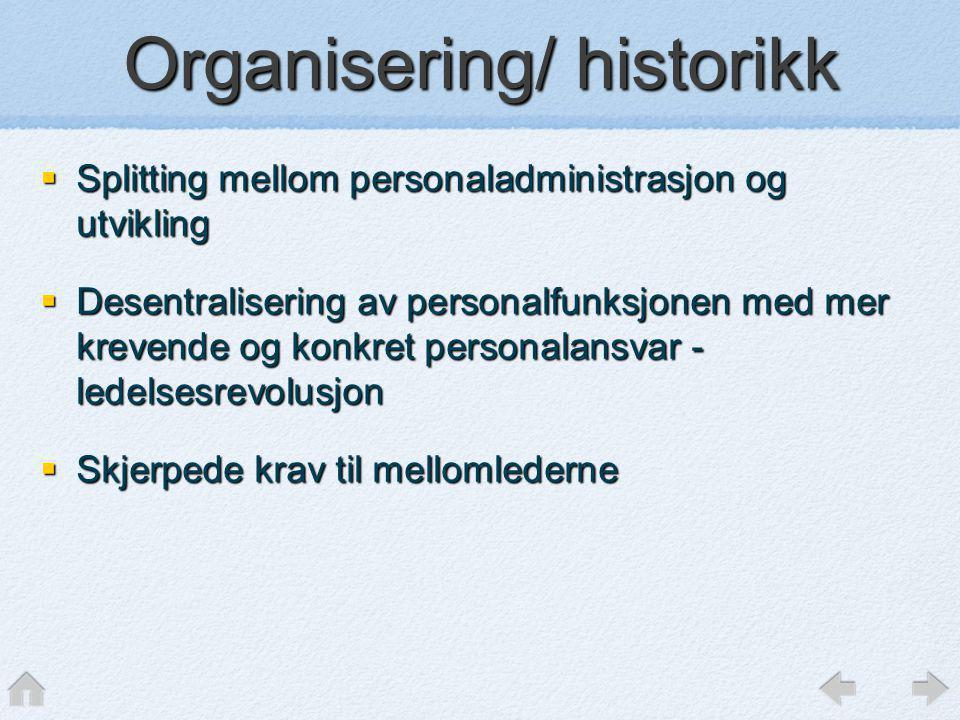 Organisering/ historikk