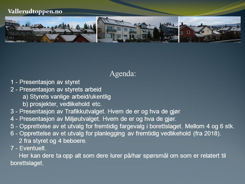 Agenda: Vallerudtoppen.no 1 - Presentasjon av styret