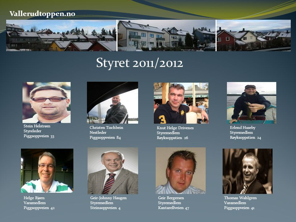 Styret 2011/2012 Vallerudtoppen.no Stein Helstrøm Styreleder