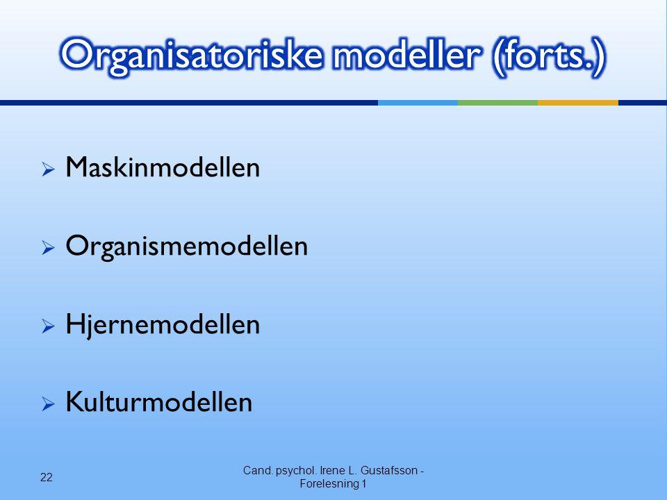 Organisatoriske modeller (forts.)