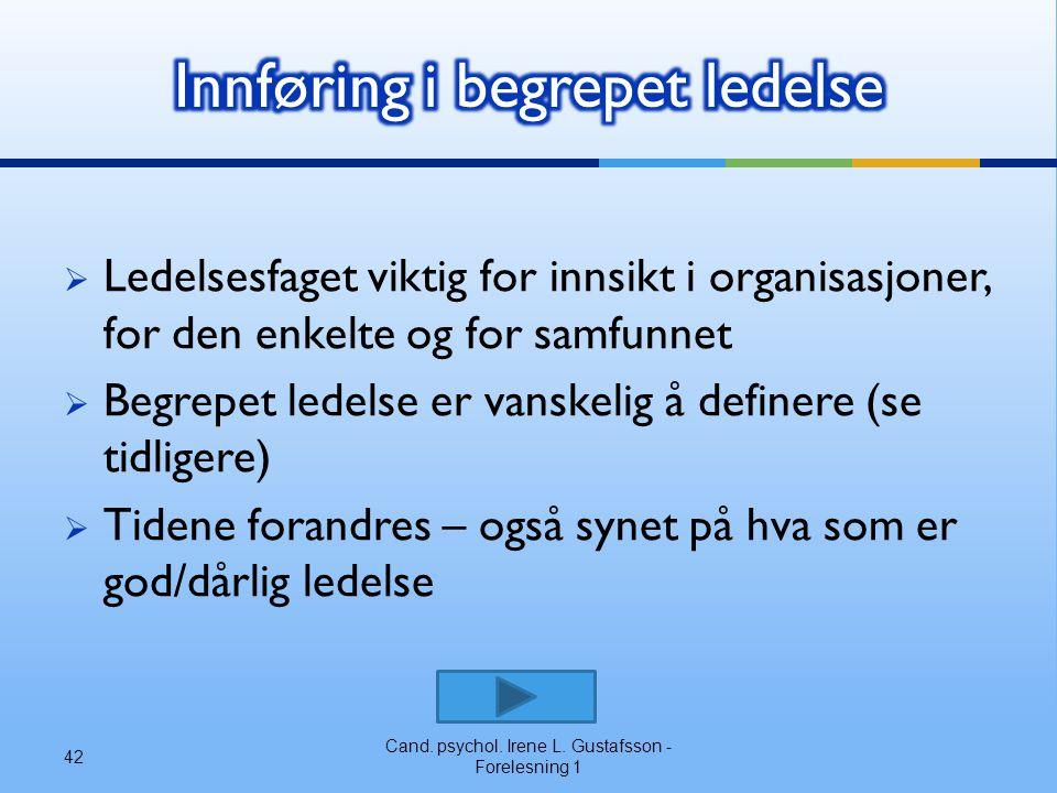 Innføring i begrepet ledelse