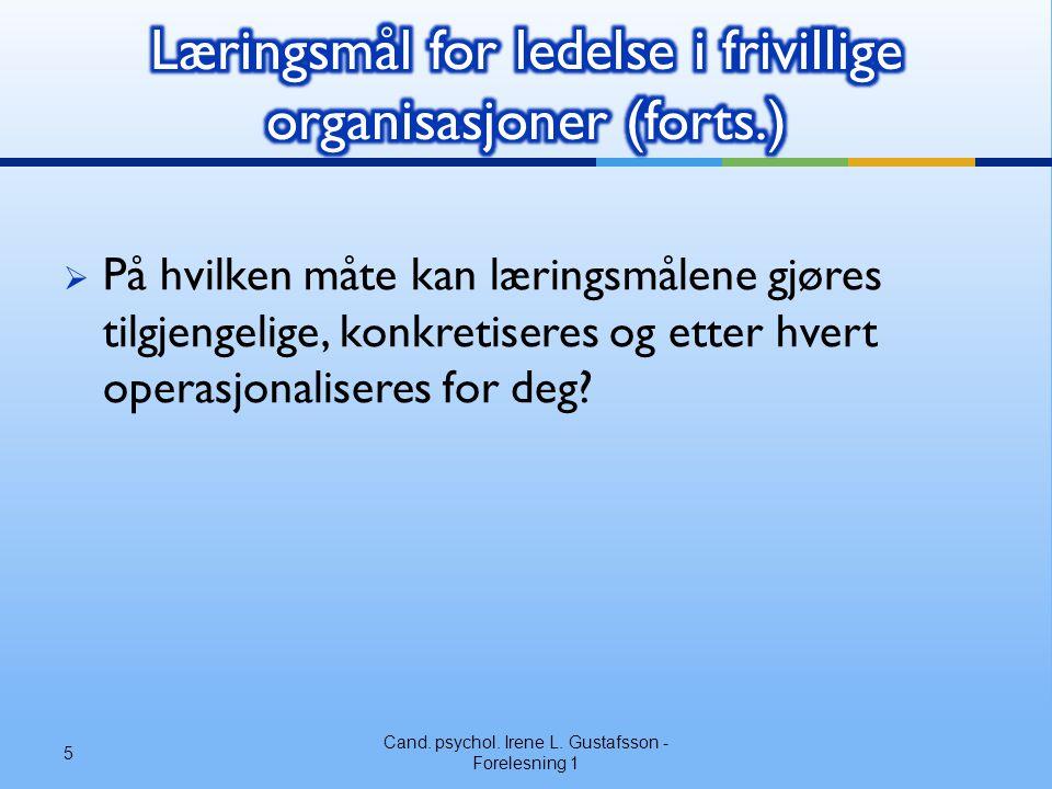 Læringsmål for ledelse i frivillige organisasjoner (forts.)