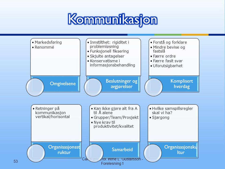 Kommunikasjon Komplisert hverdag Beslutninger og avgjørelser