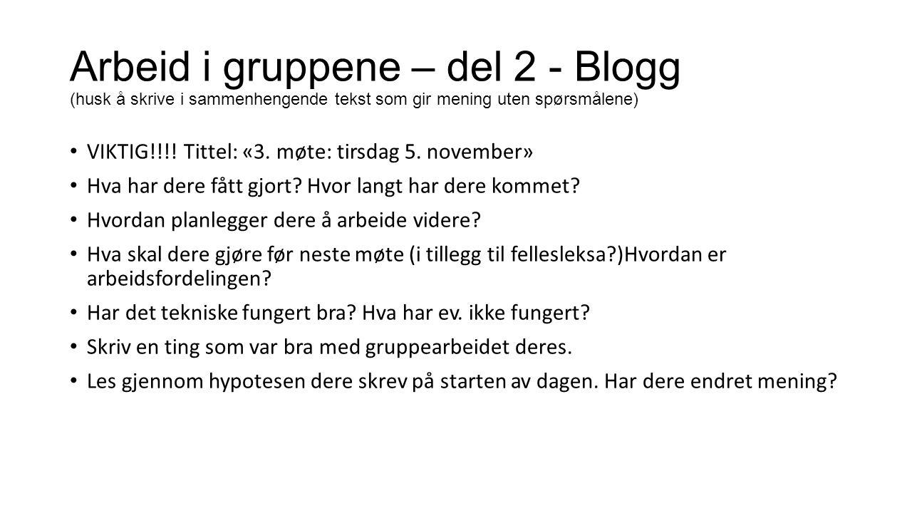 Arbeid i gruppene – del 2 - Blogg (husk å skrive i sammenhengende tekst som gir mening uten spørsmålene)