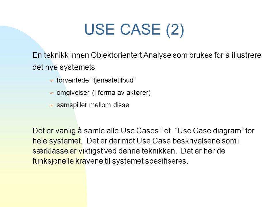 USE CASE (2) En teknikk innen Objektorientert Analyse som brukes for å illustrere det nye systemets.
