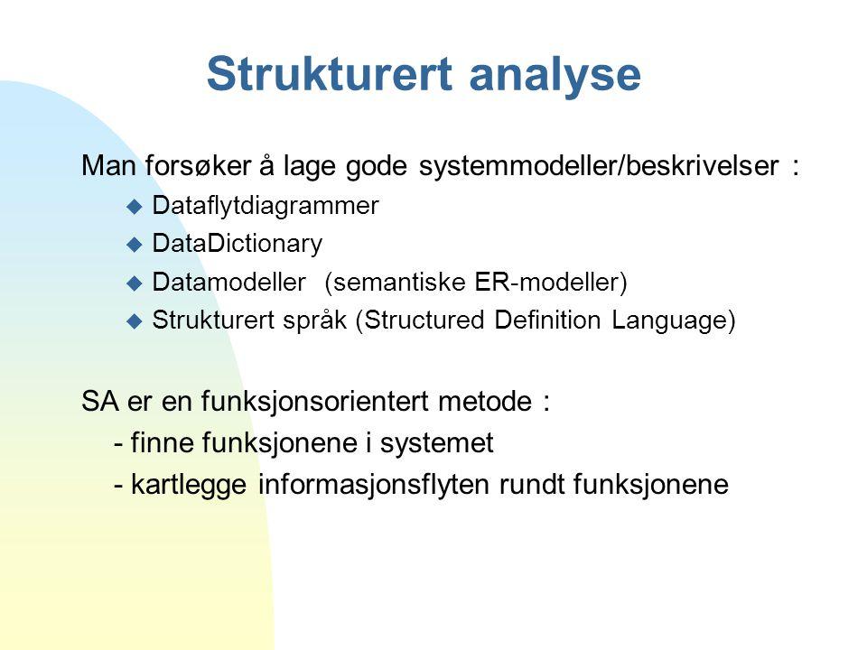 Strukturert analyse Man forsøker å lage gode systemmodeller/beskrivelser : Dataflytdiagrammer. DataDictionary.