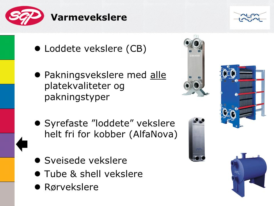 Varmevekslere Loddete vekslere (CB) Pakningsvekslere med alle platekvaliteter og pakningstyper.