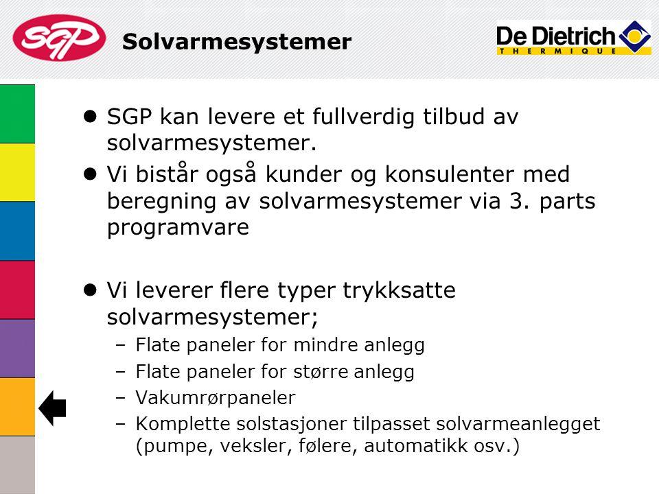SGP kan levere et fullverdig tilbud av solvarmesystemer.