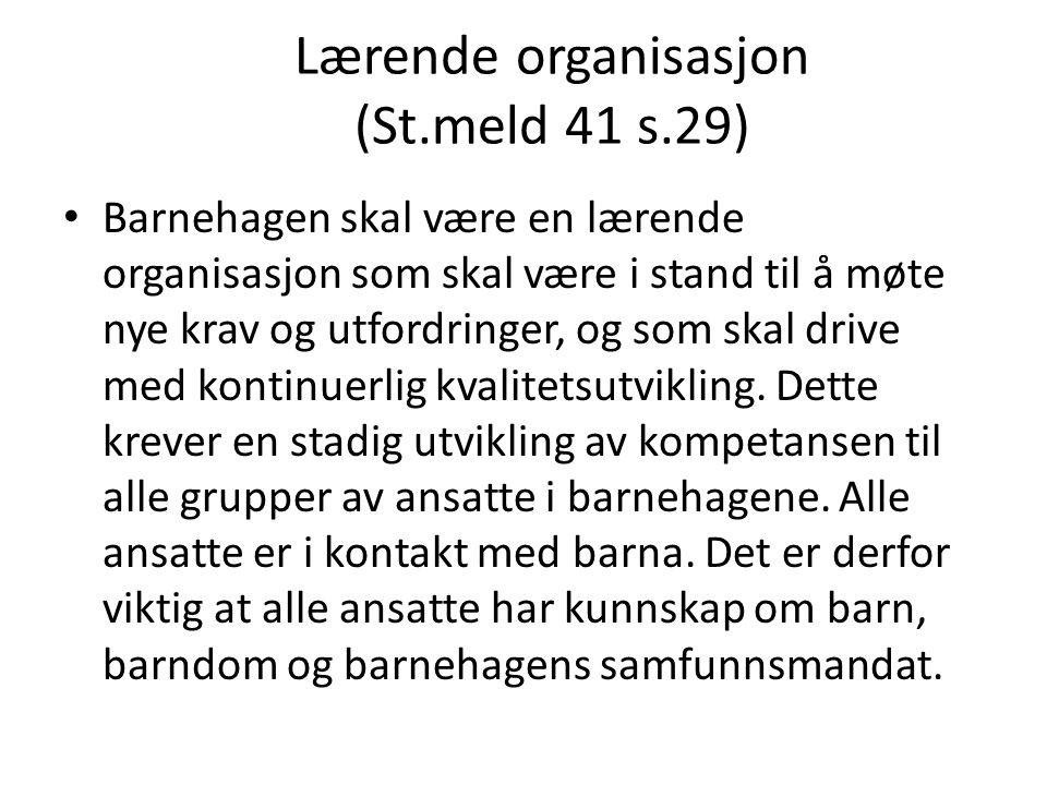 Lærende organisasjon (St.meld 41 s.29)