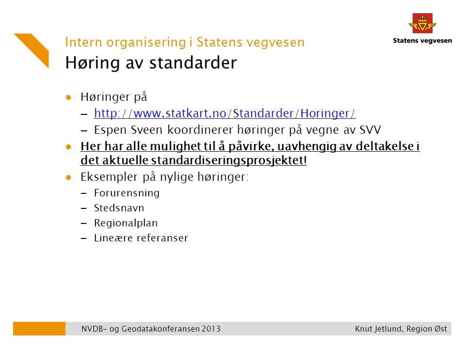 Høring av standarder Intern organisering i Statens vegvesen