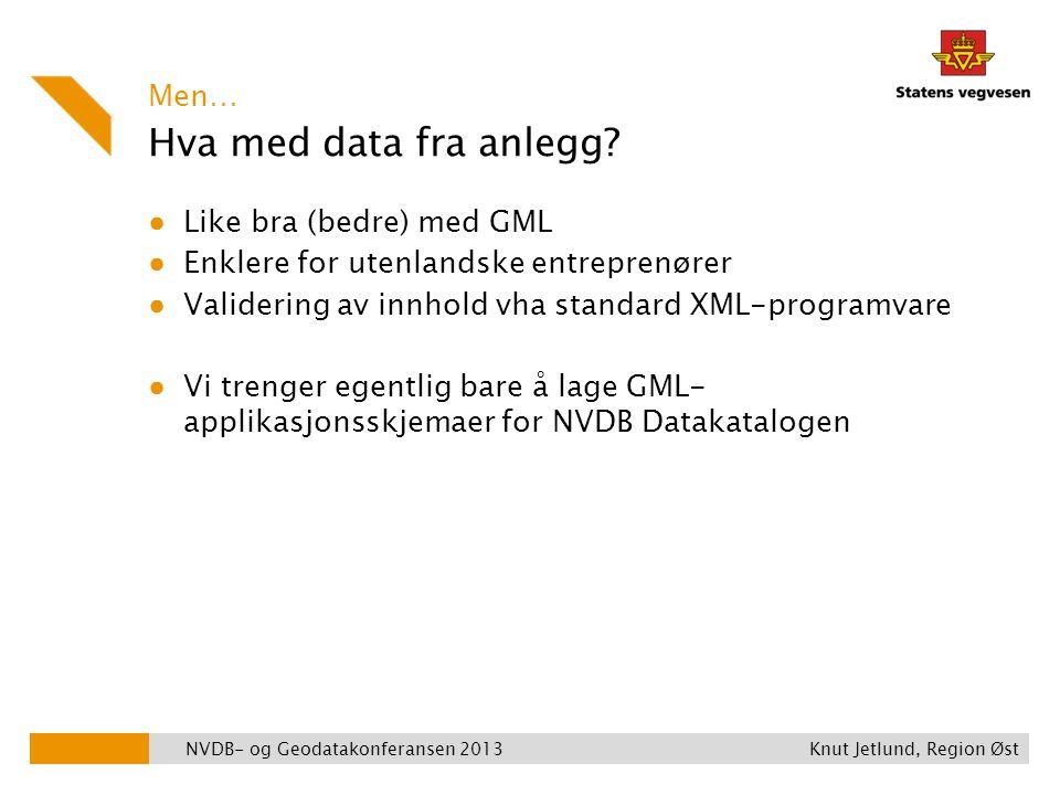Hva med data fra anlegg Men… Like bra (bedre) med GML