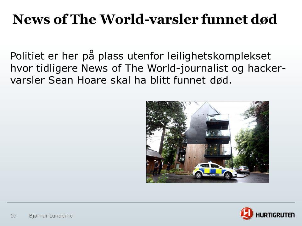 News of The World-varsler funnet død