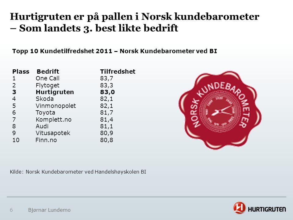 Hurtigruten er på pallen i Norsk kundebarometer – Som landets 3