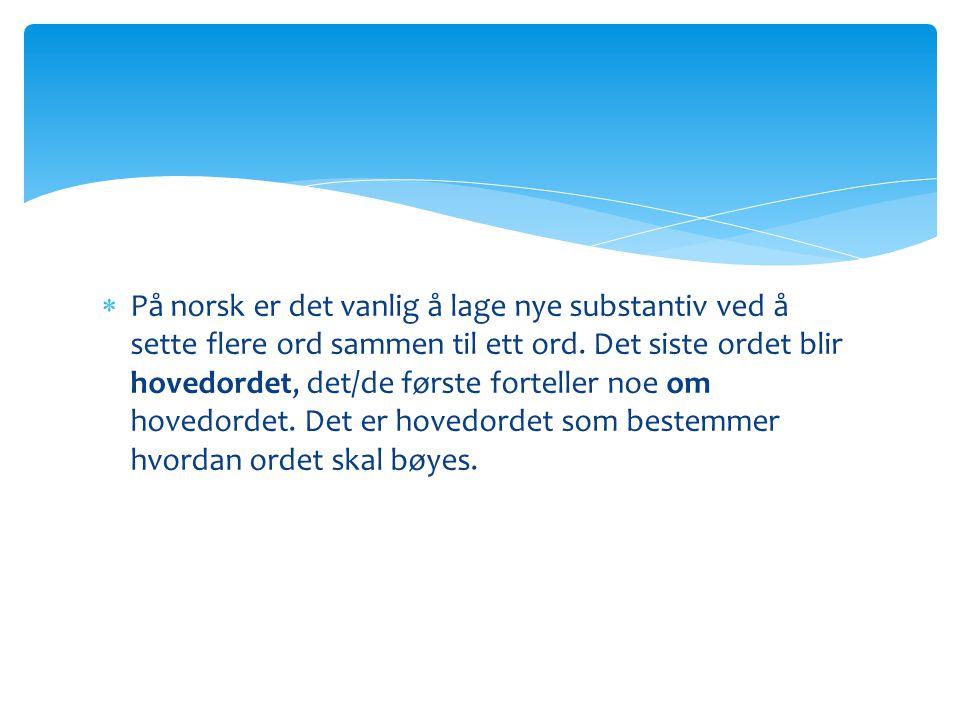 På norsk er det vanlig å lage nye substantiv ved å sette flere ord sammen til ett ord.