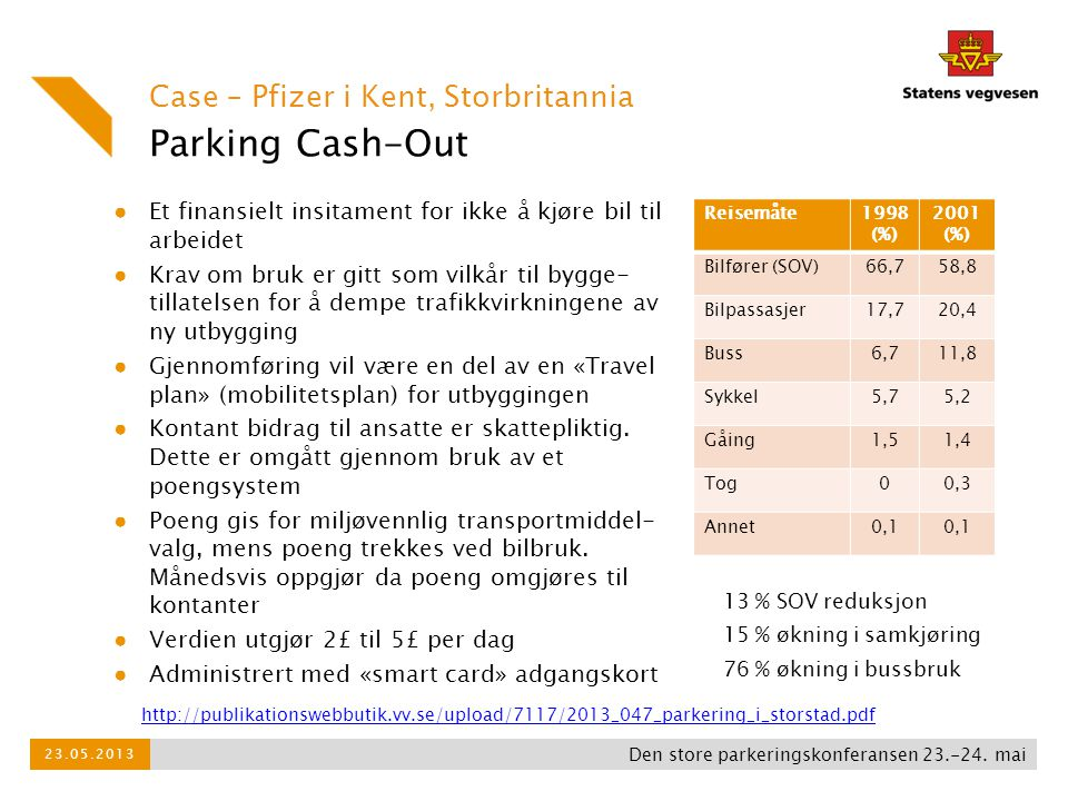 Parking Cash-Out Case – Pfizer i Kent, Storbritannia