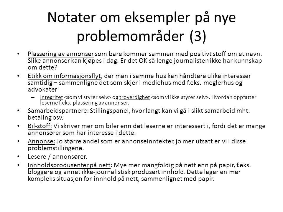 Notater om eksempler på nye problemområder (3)
