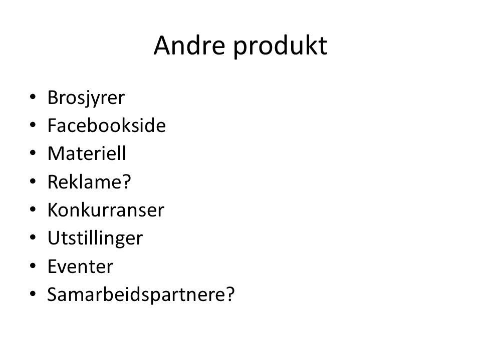 Andre produkt Brosjyrer Facebookside Materiell Reklame Konkurranser