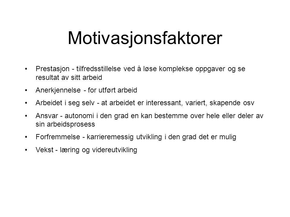 Motivasjonsfaktorer Prestasjon - tilfredsstillelse ved å løse komplekse oppgaver og se resultat av sitt arbeid.