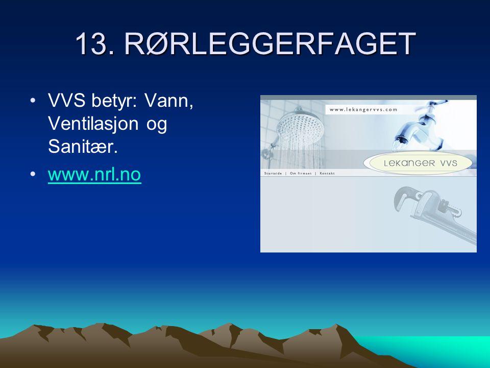 13. RØRLEGGERFAGET VVS betyr: Vann, Ventilasjon og Sanitær. www.nrl.no