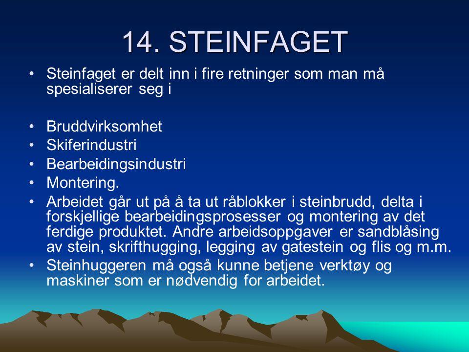 14. STEINFAGET Steinfaget er delt inn i fire retninger som man må spesialiserer seg i. Bruddvirksomhet.