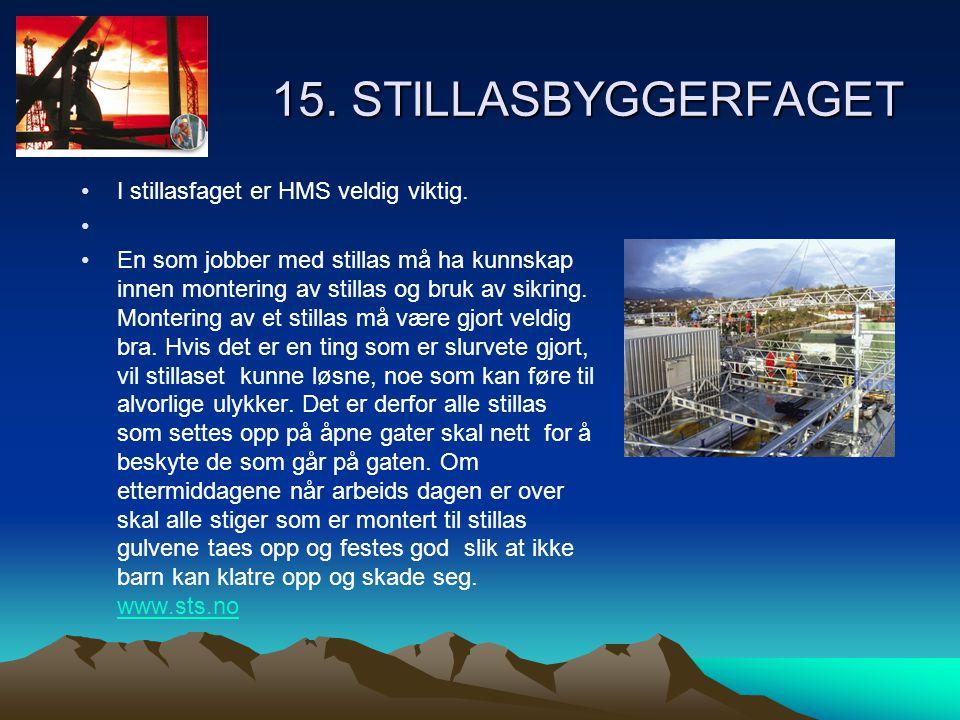 15. STILLASBYGGERFAGET I stillasfaget er HMS veldig viktig.