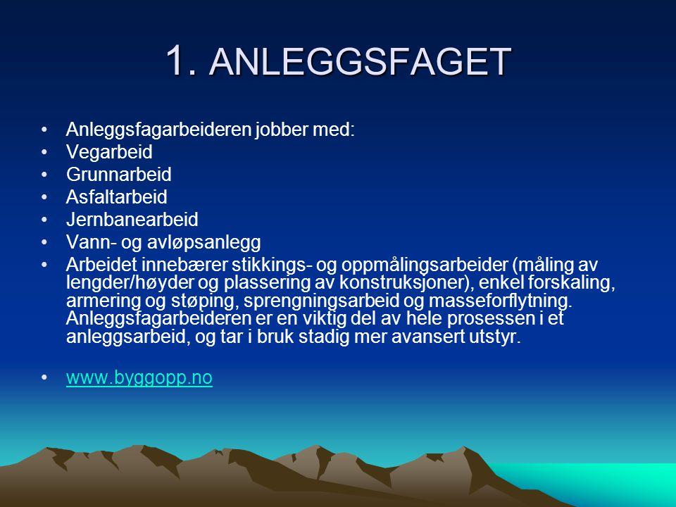 1. ANLEGGSFAGET Anleggsfagarbeideren jobber med: Vegarbeid Grunnarbeid