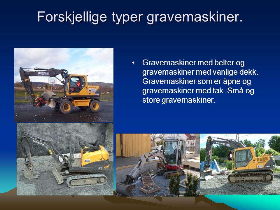 Forskjellige typer gravemaskiner.