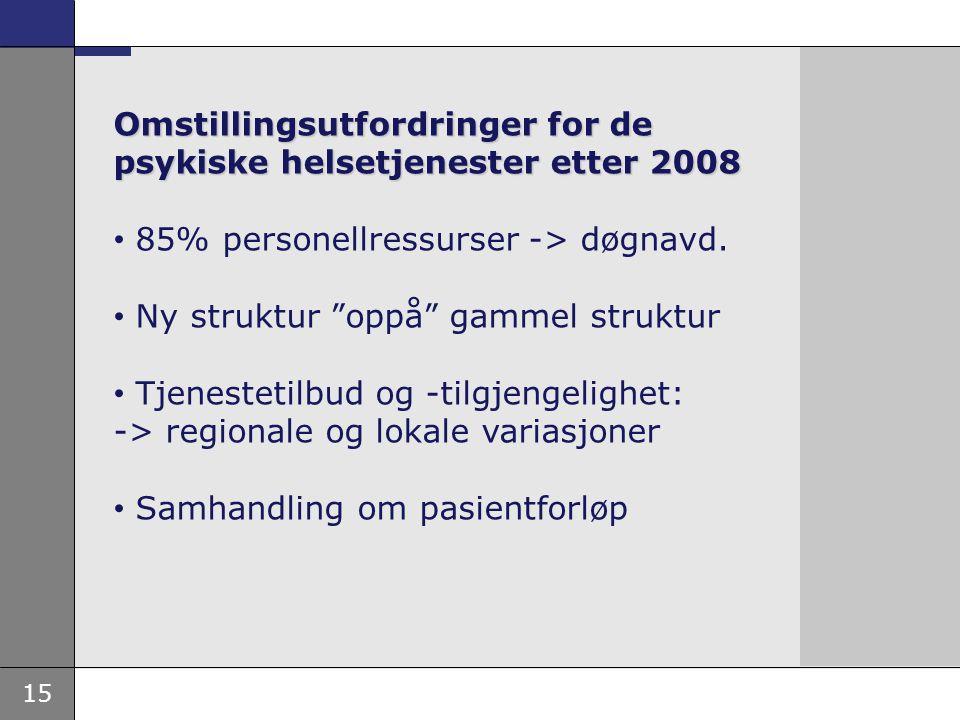 Omstillingsutfordringer for de psykiske helsetjenester etter 2008