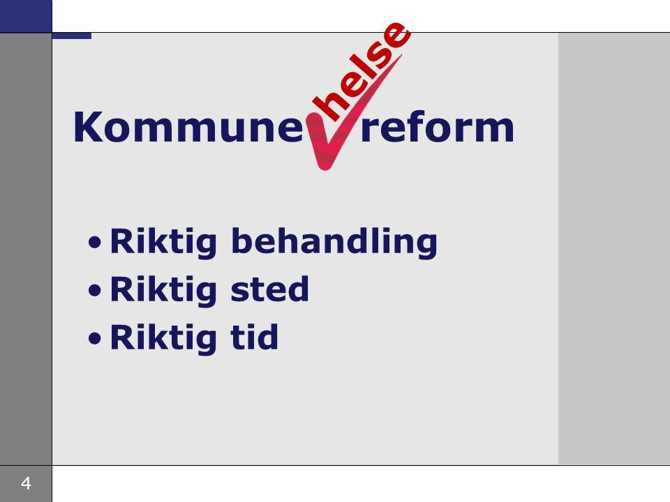 helse Kommune reform Riktig behandling Riktig sted Riktig tid