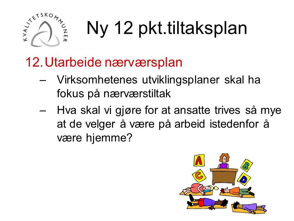 Ny 12 pkt.tiltaksplan Utarbeide nærværsplan