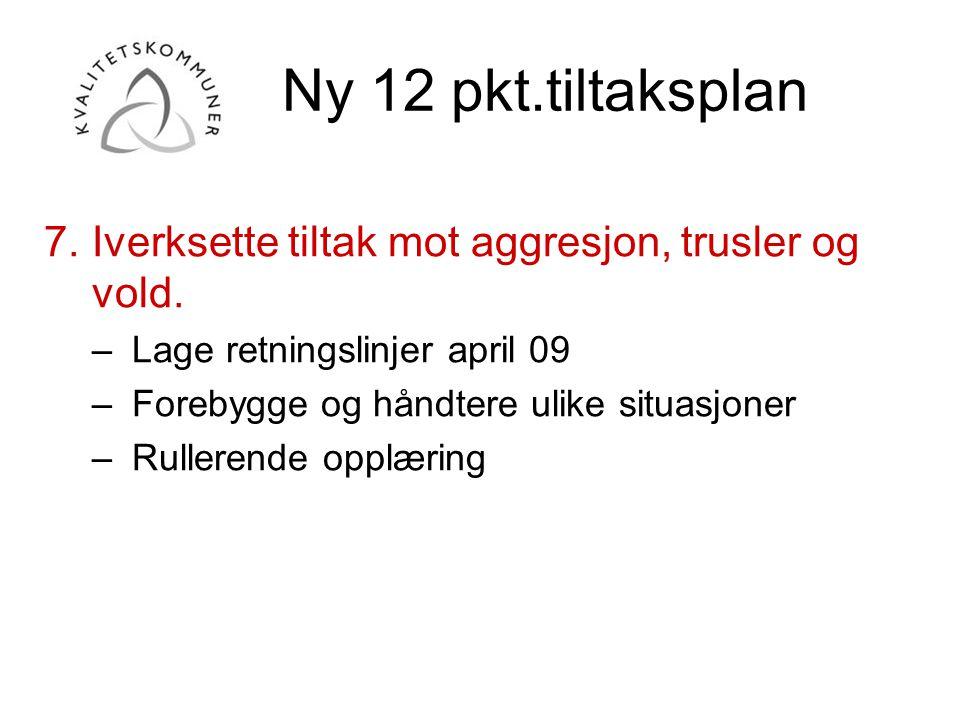 Ny 12 pkt.tiltaksplan 7. Iverksette tiltak mot aggresjon, trusler og vold. Lage retningslinjer april 09.