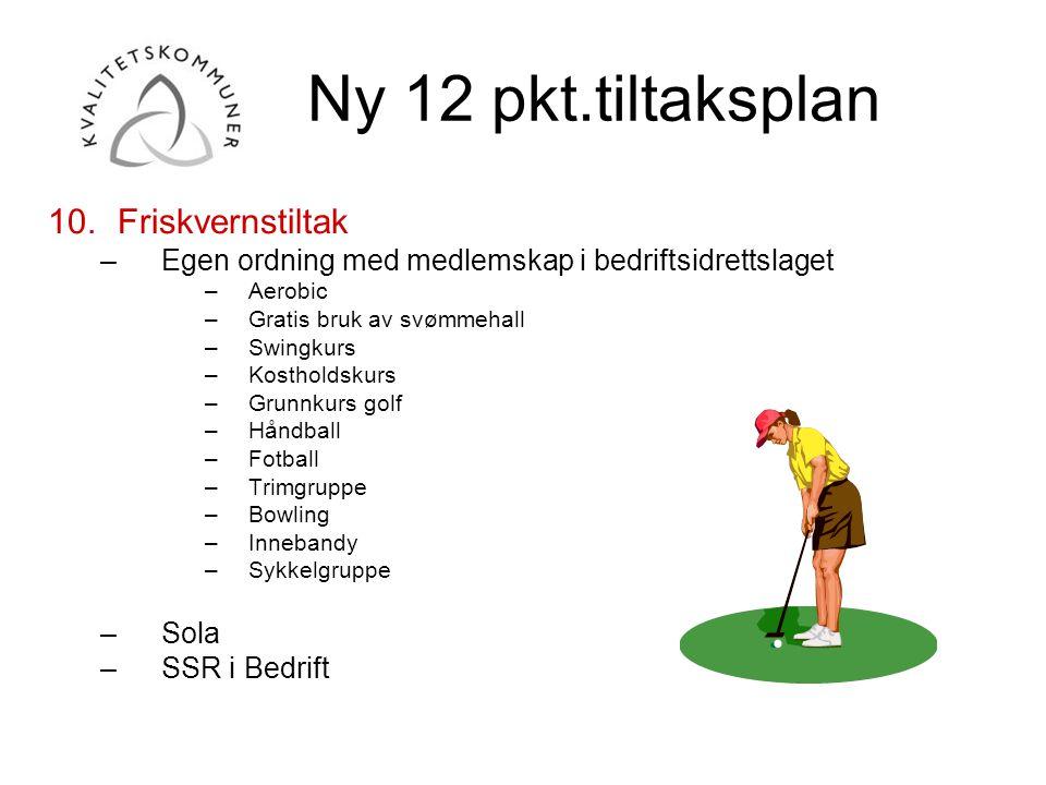 Ny 12 pkt.tiltaksplan Friskvernstiltak