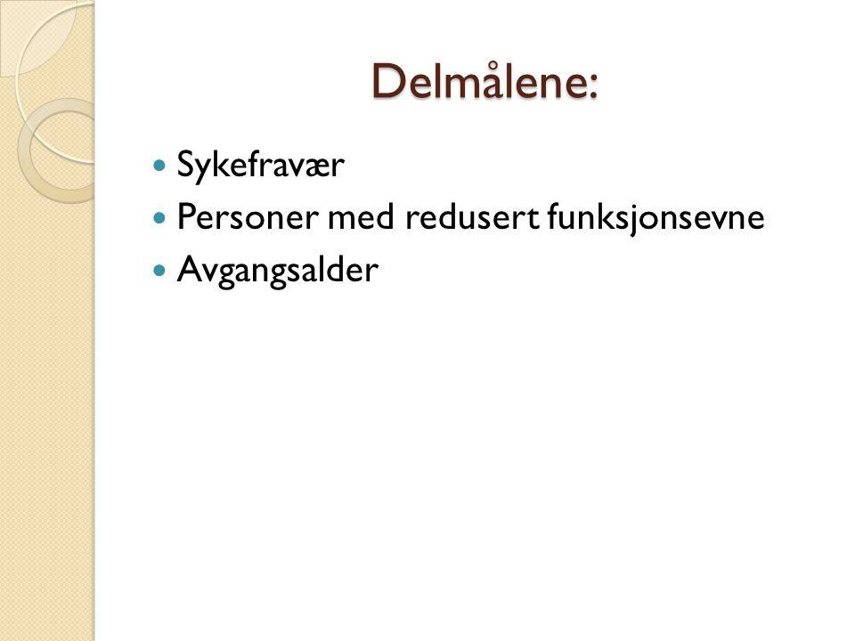 Delmålene: Sykefravær Personer med redusert funksjonsevne Avgangsalder