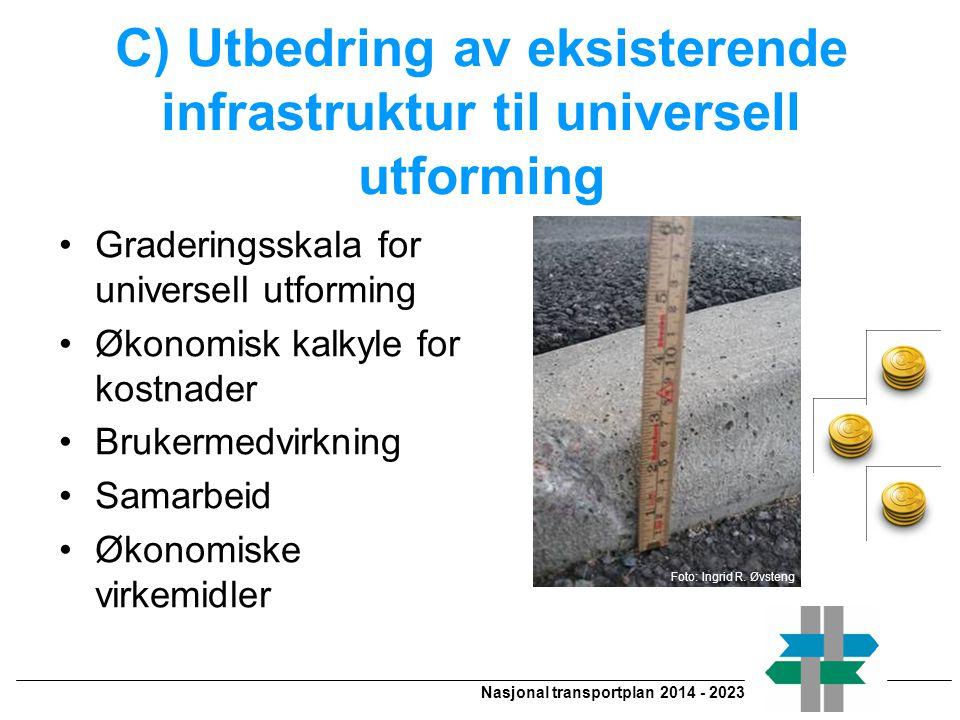 C) Utbedring av eksisterende infrastruktur til universell utforming