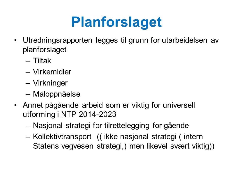 Planforslaget Utredningsrapporten legges til grunn for utarbeidelsen av planforslaget. Tiltak. Virkemidler.