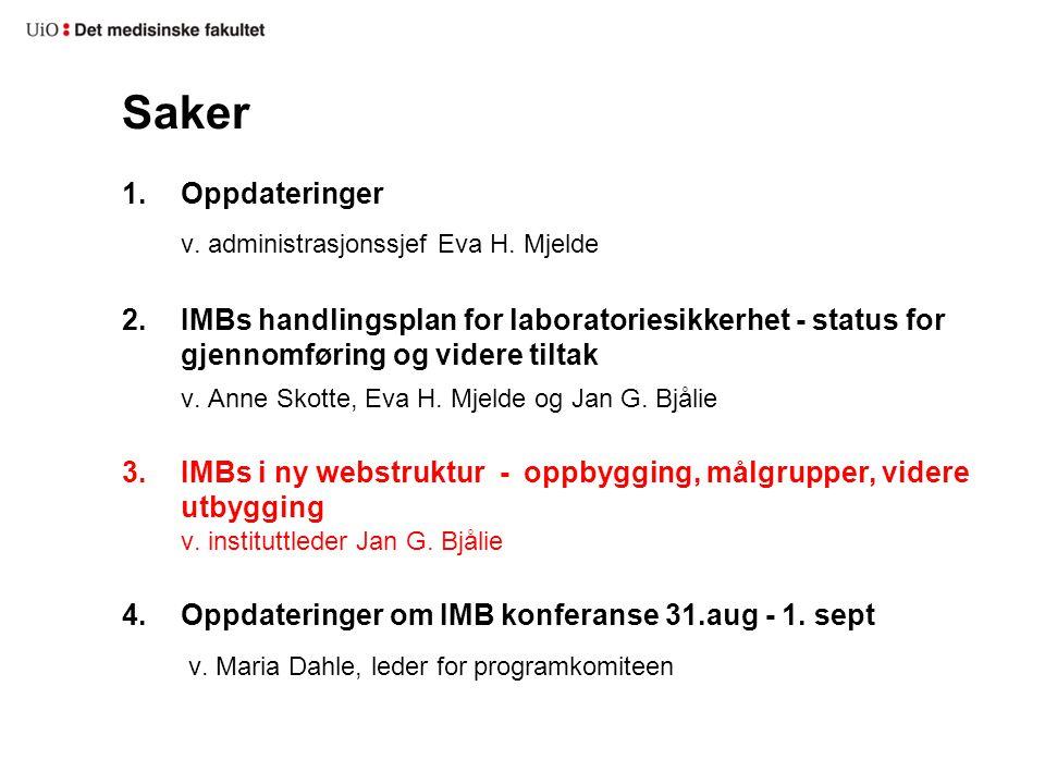 Saker v. administrasjonssjef Eva H. Mjelde
