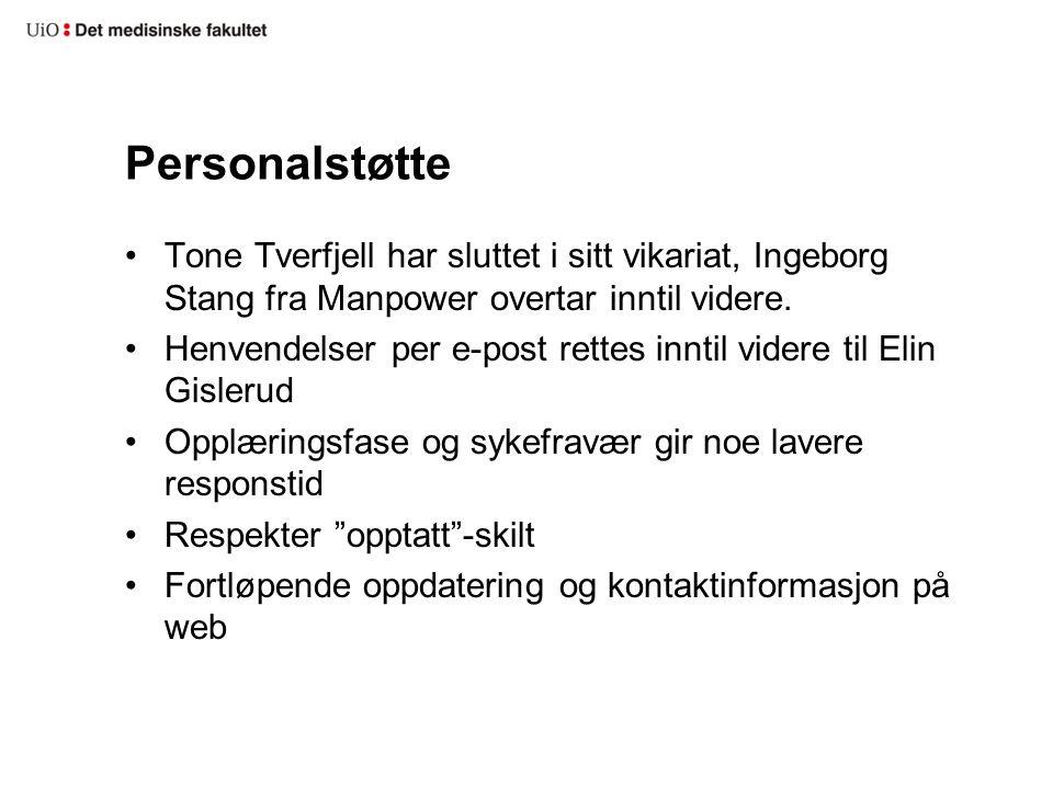 Personalstøtte Tone Tverfjell har sluttet i sitt vikariat, Ingeborg Stang fra Manpower overtar inntil videre.
