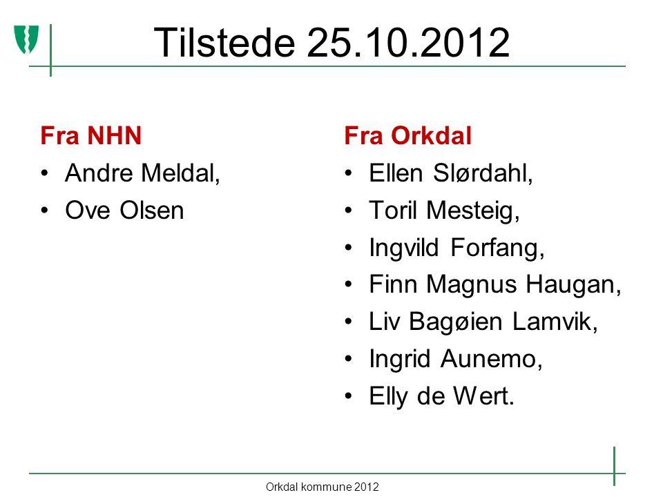 Tilstede 25.10.2012 Fra NHN Andre Meldal, Ove Olsen Fra Orkdal