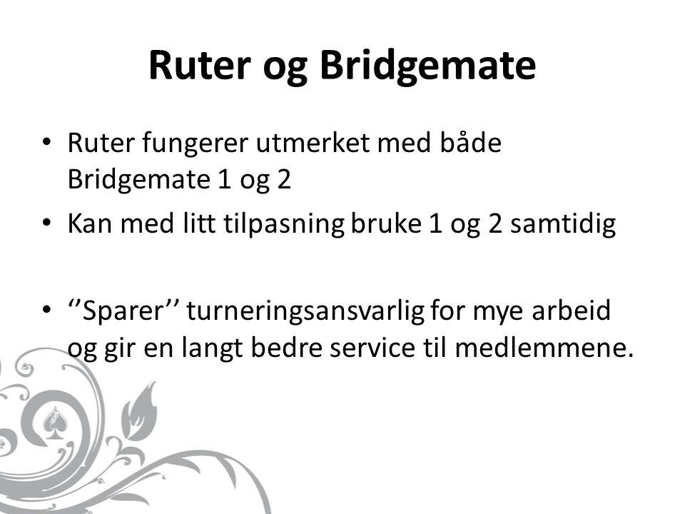 Ruter og Bridgemate Ruter fungerer utmerket med både Bridgemate 1 og 2