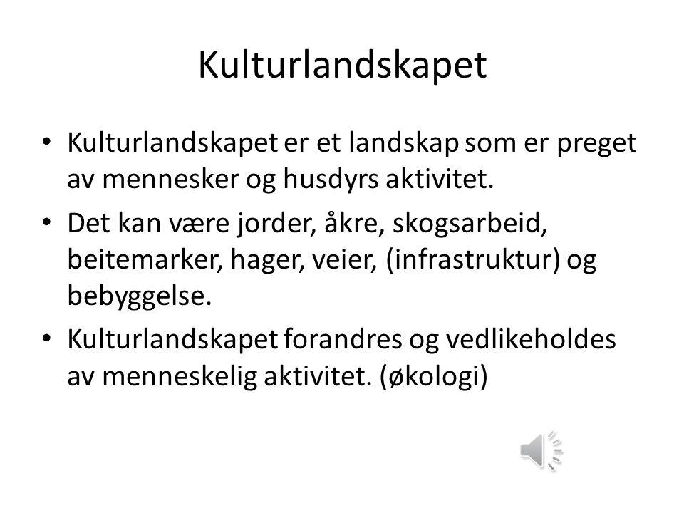 Kulturlandskapet Kulturlandskapet er et landskap som er preget av mennesker og husdyrs aktivitet.