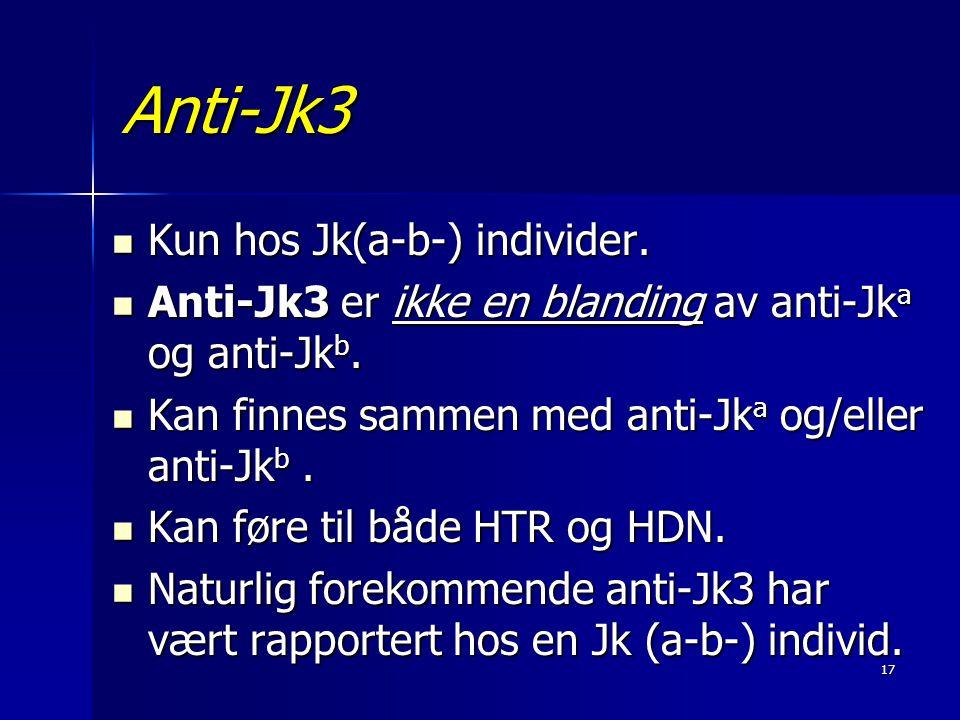 Anti-Jk3 Kun hos Jk(a-b-) individer.