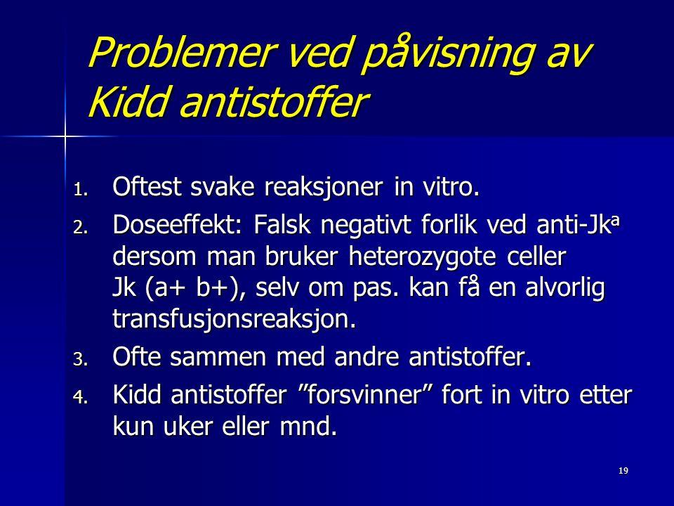 Problemer ved påvisning av Kidd antistoffer