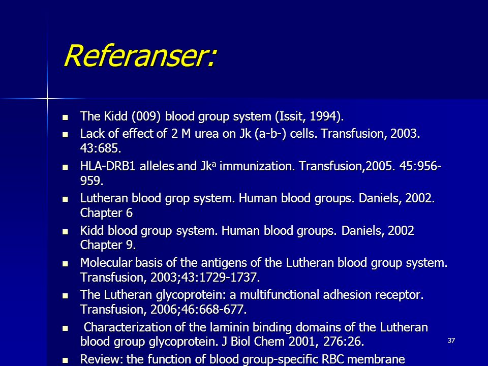 Referanser: The Kidd (009) blood group system (Issit, 1994).