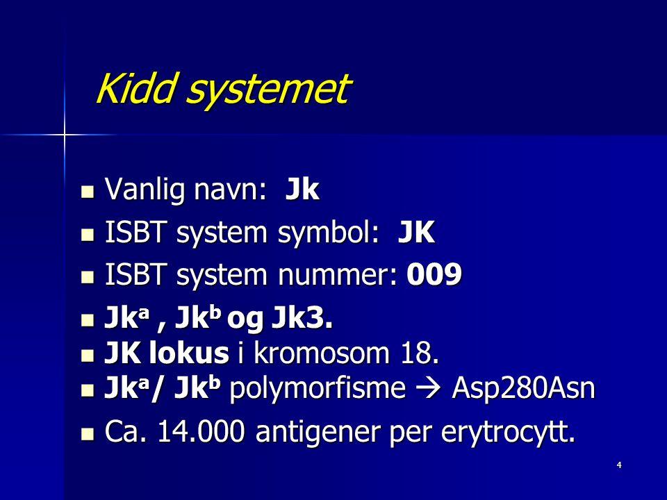 Kidd systemet Vanlig navn: Jk ISBT system symbol: JK